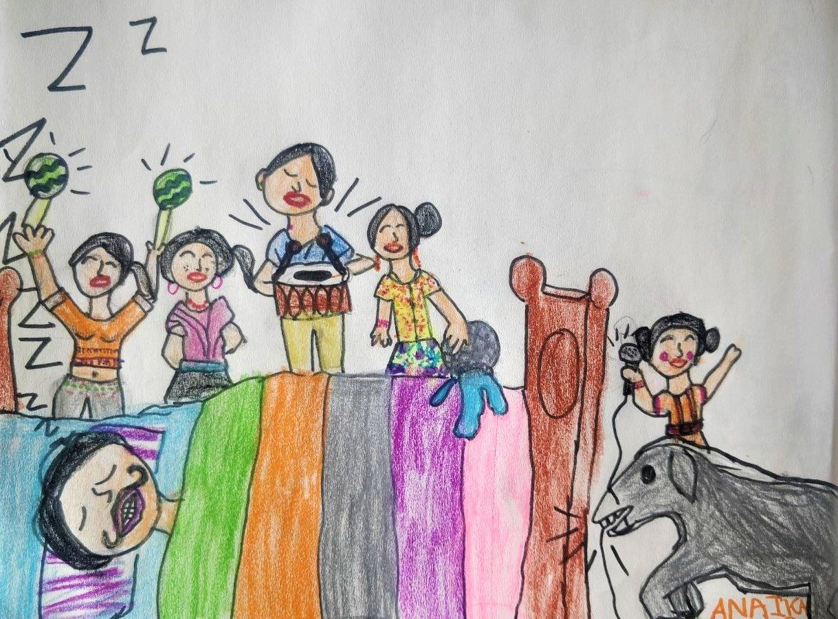 Cover art by our 7-year old friend and listener Anaika Kurian, for Kengeri Kannan Wants to Sleep,