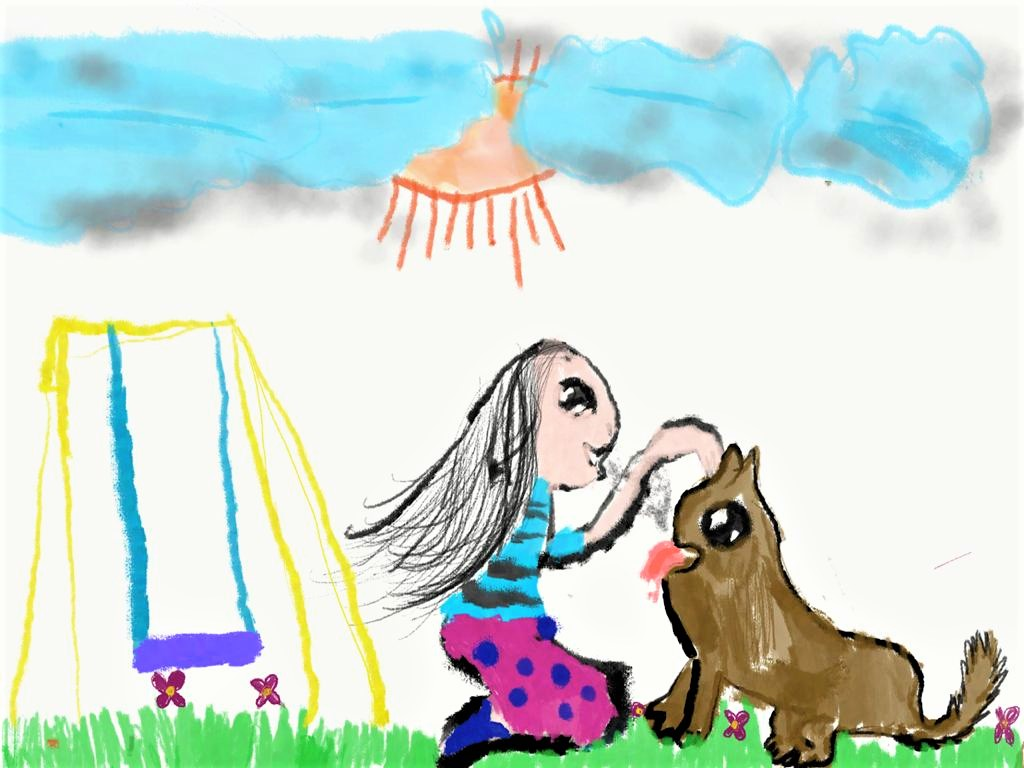 Cover art by Riya Suhel, our 8-year old friend and listener from Bangalore, for Ammu Learns to Whistle.