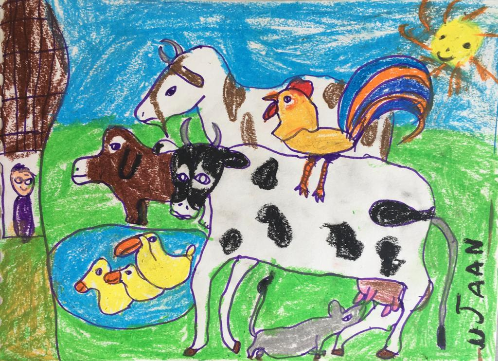 Cover art by Ujaan Chatterjee, our 6-year-old friend and listener from Calcutta, for Kengeri Kannan Learns to Sing.