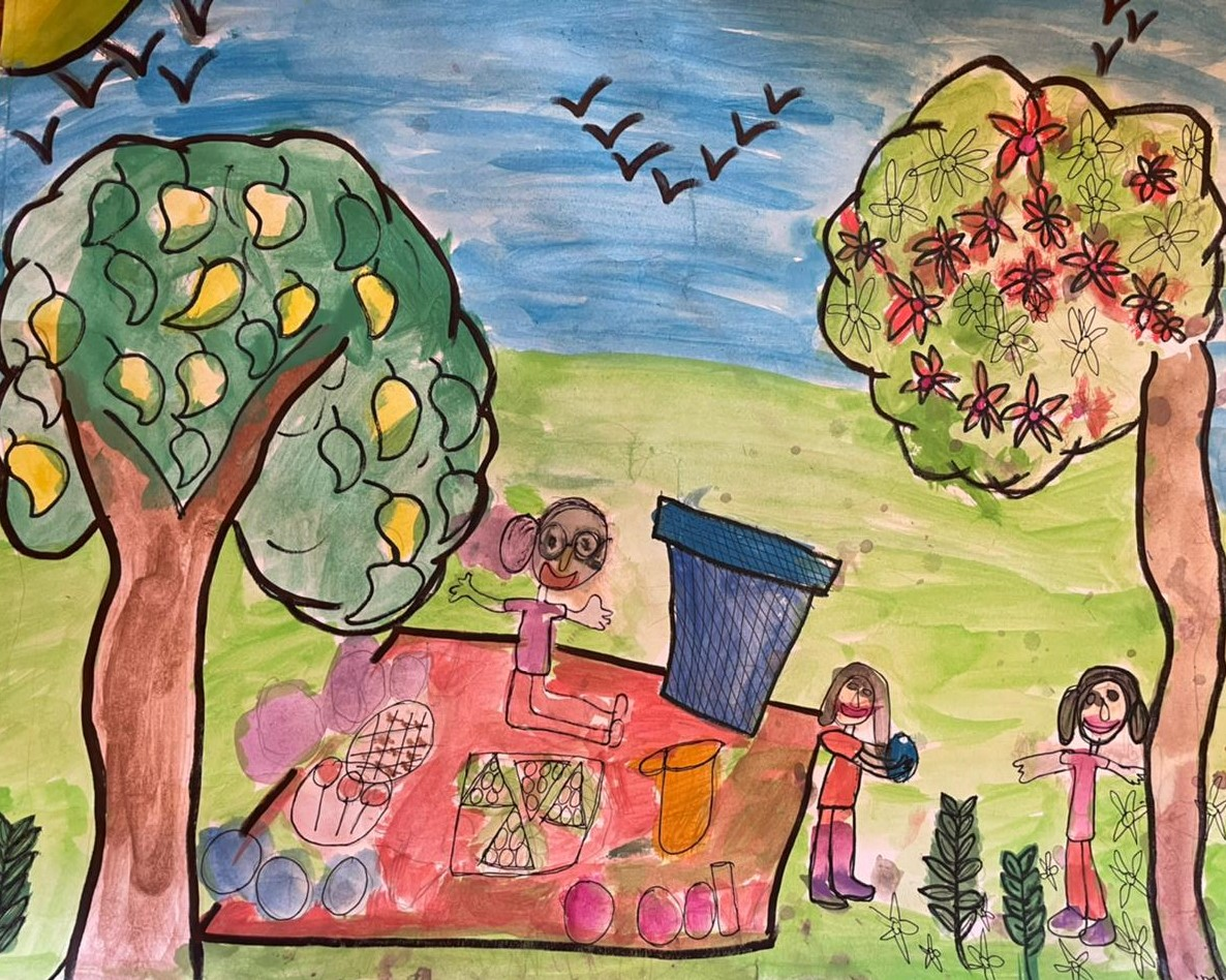 Cover art by our 7-year-old friend and listener Navya Singh, for Nani, Mishti and Tara go for a Picnic.