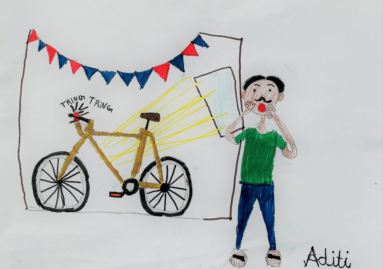 Cover Art by Aditi Nikhil Eldurkar, our 8-year-old friend and listener from Germany, for Kengeri Kannan Wants to Ride a Bike.