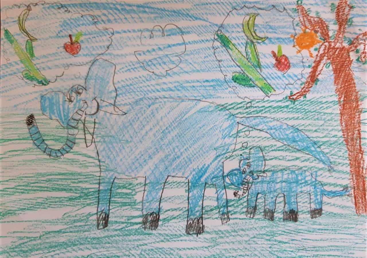 Cover Art by Yamini Kamath, our 5-year-old friend and listener from Bangalore, for Paro the Hungry Elephant.
